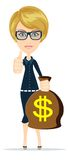 Successful businesswoman with a Bag of Dollar, Gold Cash. Vector Illustration Stock Photography