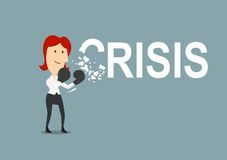 Successful businesswoman beats the crisis. With boxing gloves. Cartoon style, for crisis management concept design Royalty Free Stock Image
