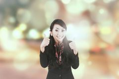 Successful businesswoman with bokeh background Royalty Free Stock Images