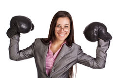 Successful businesswoman in  boxing gloves Stock Photography