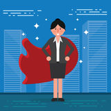 Successful businesswoman or broker in suit and red cape on city. Background. Vector superhero illustration as concept of corporate leadership or success vector illustration