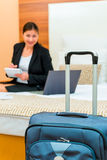Successful businesswoman on a business trip. At the hotel Stock Photo