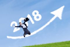 Successful businesswoman with numbers 2018 Stock Images