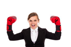 Successful  businesswoman celebrating wearing boxing gloves Stock Photo