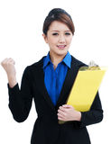 Successful Businesswoman Clenching her Fist Royalty Free Stock Image