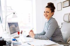 Successful businesswoman in company stock photo
