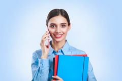 Portrait of young beautiful business woman stock photo