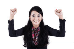Successful businesswoman expressing happy 1 Stock Photo