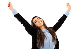 Successful businesswoman expressing victory Royalty Free Stock Photo