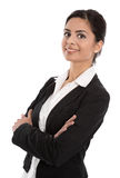 Successful businesswoman with folded arms isolated on white. Royalty Free Stock Photo