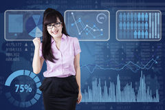 Successful businesswoman with futuristic interface Stock Photography
