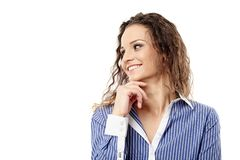 Successful businesswoman with hand on chin looking to the left Stock Images