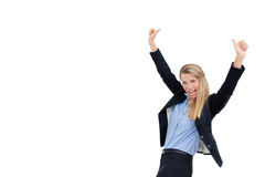 Successful businesswoman holding arms up, success!. Portrait of successful businesswoman with clenched fist and holding arms up. An image of success, victory, a Royalty Free Stock Photography