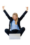 Successful businesswoman holding arms up, success! Royalty Free Stock Images