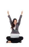 Successful businesswoman holding arms up, success! Royalty Free Stock Photography