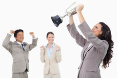Successful businesswoman holding cup Stock Photo