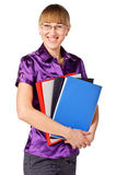 Successful businesswoman holding a folders Stock Images