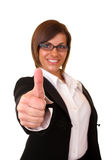 Successful businesswoman  holding thumbs up Stock Photos