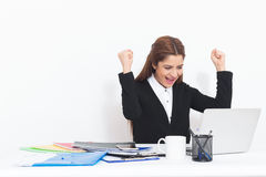 Successful Businesswoman Joice At Table Royalty Free Stock Photos