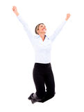 Successful businesswoman jumping Royalty Free Stock Images