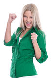 Successful businesswoman  - jumping for joy with fists  isolated Royalty Free Stock Photography