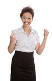 Successful businesswoman  - jumping for joy with fists  isolated Stock Images