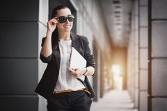 Successful Businesswoman with laptop Stock Images