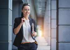 Successful Businesswoman with laptop Stock Image