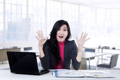 Successful businesswoman looks surprised Royalty Free Stock Photo