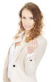 Successful businesswoman making fist. Stock Image