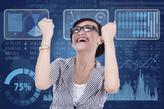 Successful businesswoman with modern interface 1 Stock Photo