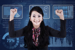 Successful businesswoman with modern interface 2 Royalty Free Stock Photography