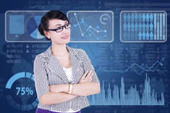 Successful businesswoman with modern interface Royalty Free Stock Photo