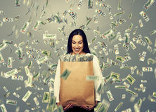 Successful businesswoman with money Royalty Free Stock Images