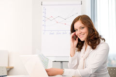 Successful businesswoman at office on phone Royalty Free Stock Photo