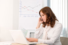 Successful businesswoman at office on phone Royalty Free Stock Photography