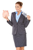 Successful businesswoman with a piggy bank Royalty Free Stock Photography