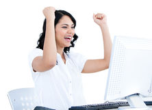Successful businesswoman punching the air Royalty Free Stock Images