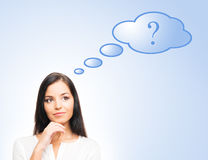 A successful businesswoman with a question Royalty Free Stock Images