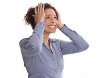 Successful businesswoman is relieved and excited with head betwe Royalty Free Stock Photos