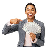 Successful Businesswoman Showing Fanned Out Fifty Dollar Notes. Portrait of successful businesswoman showing fanned out fifty dollar notes against white Royalty Free Stock Photos