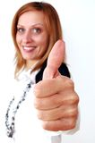 Successful businesswoman showing sign of okay. Stock Image
