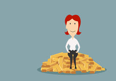 Successful businesswoman sitting on gold bars. Happy rich cartoon redhead businesswoman sitting on a big pile of gold bars. Wealth or financial success concept Royalty Free Stock Photos