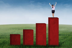 Successful businesswoman standing on graph Stock Images