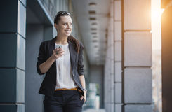 Successful businesswoman talking on cellphone. Royalty Free Stock Photography