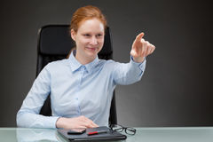 Successful Businesswoman Touching Virtual Element Stock Photography