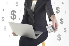 Successful businesswoman very happy because got money from success new project on white dollar background Royalty Free Stock Photo