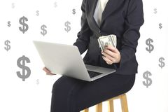 Successful businesswoman very happy because got money from success new project on white dollar background Stock Image
