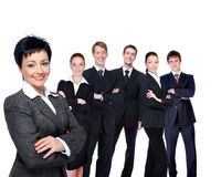 Successful businesswoman with workgroup. stock images