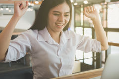 Successful businesswoman working in the office. happy female sta Stock Images